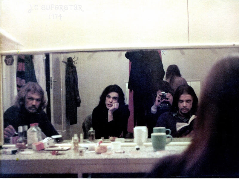 Richard Karl, Bill Miller (the Ferrets) and Barry Ferrier in the Dressing room, Capitol Theatre 1974, pre-show moment , Jesus Christ Superstar. Stevie Wright back to the camera. They became three of the four members of the band Passage. (see the video clip below)